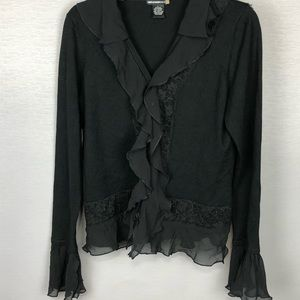Sweaterworks Cardigan with Ruffles. Black. SZ L
